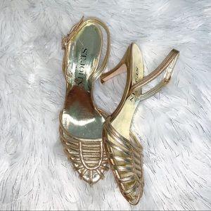 St. John's Gold Strappy Slingback Heels